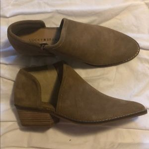 Lucky brand suede tan booties 9.5